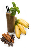 Suco da banana com chocolate Fotos de Stock Royalty Free