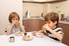 Suco da bebida de dois meninos Fotografia de Stock