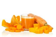 Suco da cenoura e da abóbora fotografia de stock