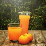 Suco da tangerina em uma placa de madeira Imagens de Stock Royalty Free