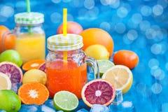 Suco da vitamina do citrino com frutos frescos ao redor Fotos de Stock Royalty Free