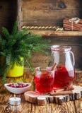 Suco de airela fresco A compota Bebida quente do Natal das bagas com anis da canela e de estrela Foto de Stock