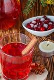 Suco de airela fresco A compota Bebida quente do Natal das bagas com anis da canela e de estrela Fotos de Stock