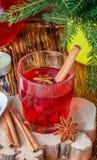 Suco de airela fresco A compota Bebida quente do Natal das bagas com anis da canela e de estrela Fotos de Stock Royalty Free