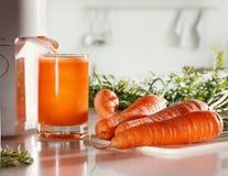 Suco de cenoura e juicer frescos foto de stock royalty free