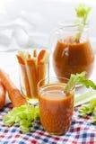 Suco de cenoura fresco com cenouras, aipo, aneto e salsa Fotografia de Stock Royalty Free