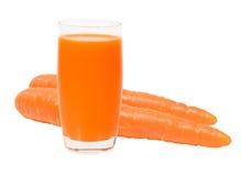 Suco de cenoura fresco isolado Foto de Stock