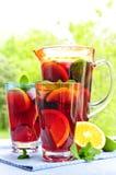 Suco de fruta mixa no jarro e nos vidros Imagens de Stock
