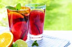 Suco de fruta mixa nos vidros Imagens de Stock