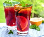 Suco de fruta mixa nos vidros Fotos de Stock Royalty Free