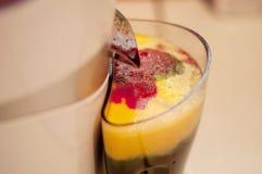 Suco e juicer frescos crus imagem de stock
