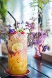 Suco de fruto de refrescamento da paixão com soda Foto de Stock Royalty Free
