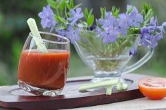 Suco de tomate, em um suporte no jardim Fotos de Stock