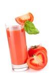Suco de tomate fresco com manjericão Imagem de Stock Royalty Free