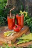 Suco de tomate nos vidros Fotos de Stock