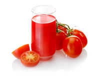 Suco de tomate recentemente preparado Fotografia de Stock Royalty Free