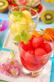 Suco do melão e da melancia Fotos de Stock Royalty Free