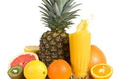 Suco dos citrinos com grupo de frutas frescas imagem de stock