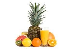 Suco dos citrinos com grupo de frutas frescas Fotografia de Stock Royalty Free