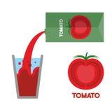 Suco dos tomates Derrame o suco de tomate no vidro Ilustração do vetor Fotografia de Stock Royalty Free
