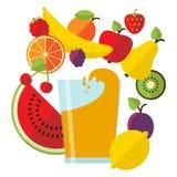 Suco e fruta frescos Imagem de Stock