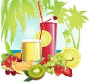Suco e frutas.