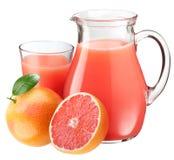 Suco e frutas de pamplumossa. Imagens de Stock Royalty Free