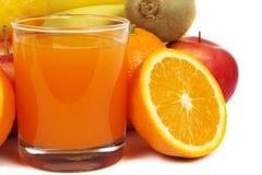 Suco e frutos Imagens de Stock Royalty Free
