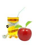 Suco e medidor de maçã Fotos de Stock Royalty Free
