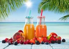 Suco fresco com mistura do fruto na praia Fotos de Stock