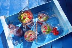 Suco fresco da framboesa com hortelã e limão Fotografia de Stock Royalty Free