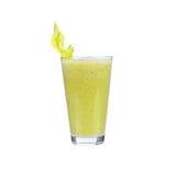 Suco fresco do pepino, da pera e do aipo, isolado no fundo branco Imagens de Stock Royalty Free