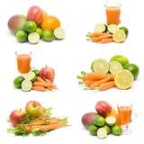 Suco fresco, frutas e legumes Imagem de Stock