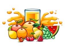 Suco natural alaranjado no vidro com frutos Ilustração do Vetor