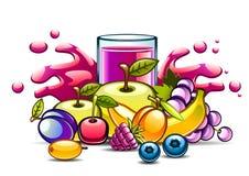 Suco roxo natural no vidro e nos frutos Ilustração do Vetor