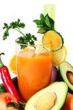 Suco vegetal e vegetais Imagem de Stock Royalty Free