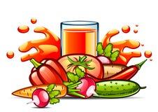 Suco vegetal natural no vidro com vegetais Ilustração Royalty Free