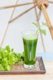 Suco vegetal verde com aipo fresco Imagem de Stock Royalty Free