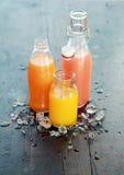 Sucos de fruto feitos home frescos saudáveis Fotos de Stock Royalty Free