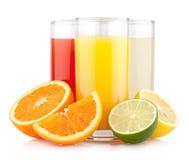 Sucos do citrino Fotografia de Stock