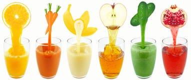 Sucos do vegetal e de fruto Fotos de Stock