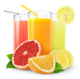 Sucos frescos do citrino Fotografia de Stock