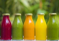 Sucos vegetais crus frio-pressionados orgânicos Imagens de Stock Royalty Free