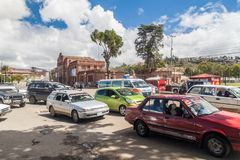 SUCRE, BOLIVIA - APRIL 22, 2015: Traffic in front of Estacion Presidente Aniceto Arce, old railway station in Sucre. Bolivia royalty free stock photos