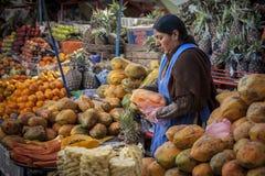 SUCRE BOLIWIA, SIERPIEŃ, - 07, 2017: Niezidentyfikowani bolivian sprzedawcy przy Owocowymi kramami przy Środkowym rynkiem w Sucre Obrazy Stock