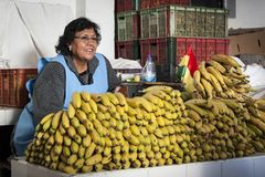SUCRE BOLIWIA, SIERPIEŃ, - 07, 2017: Niezidentyfikowani bolivian sprzedawcy przy Owocowymi kramami przy Środkowym rynkiem w Sucre Zdjęcie Royalty Free