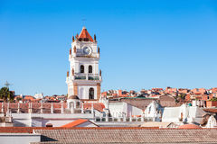 Sucre Cathedral. Is located on Plaza 25 de Mayo square in Sucre, Bolivia Stock Photos