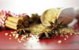 Sucre de café, cannelle et plan rapproché de macro d'édulcorant de café d'anis d'étoile Images libres de droits