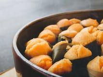 Sucre doux thaïlandais de dessert, gâteau de paume de grog Photos stock