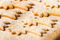 Sucre en poudre par étoile de comète de biscuits de Noël de cuisson Photographie stock libre de droits